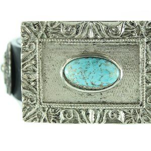 STREETS AHEAD Black Leather Belt w Square Buckle
